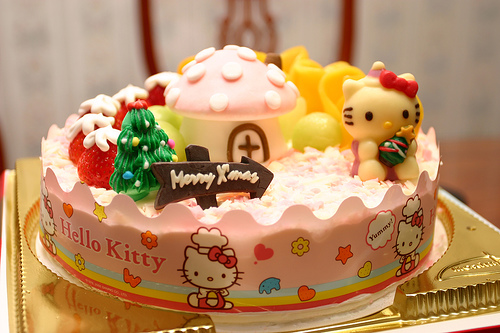 hello kitty birthday or christmas cake