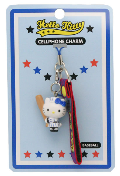 hello kitty baseball cell phone charm