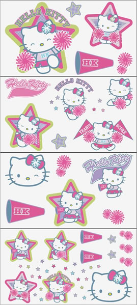 hello kitty cheerleader wall stickers