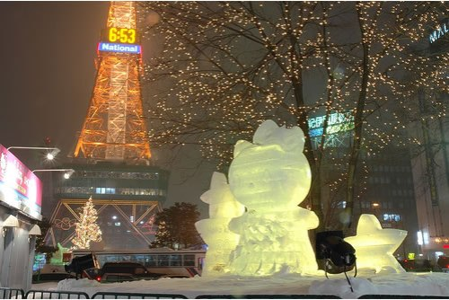 hello kitty ice sculpture