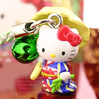 hello kitty cell phone strap, Sanrio Gotouchi Hello Kitty Tokyo Limited, Willowy Kimono Lady ($4.20 US