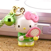 hello kitty cell phone strap, Sanrio Hello Kitty Freshman Costumed Club Activity Netsuke Cell Phone Strap (Tennis) ($4.20)