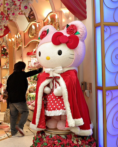 hello kitty christmas doll in cape lifesize