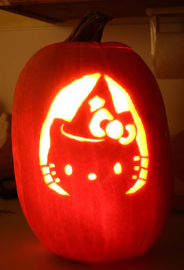 hello kitty jack-o-lantern witch face