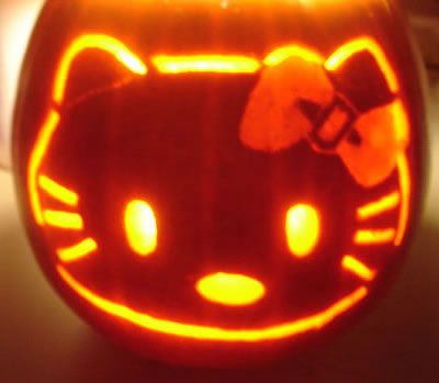 hello kitty jack-o-lantern face