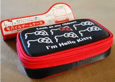 hello kitty ds lite black and red case