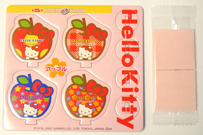 hello kitty gum with paper markers package backside