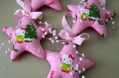 hello kitty christmas ornaments, star shape