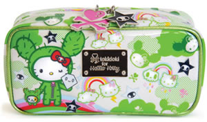 tokidoki for hello kitty green cosmetic pouch