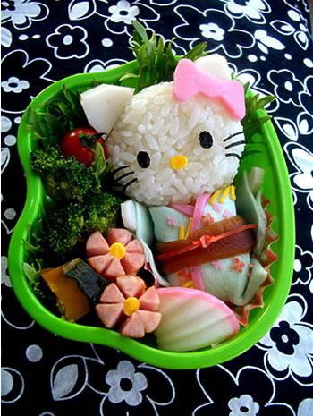 hello kitty in kimono bento
