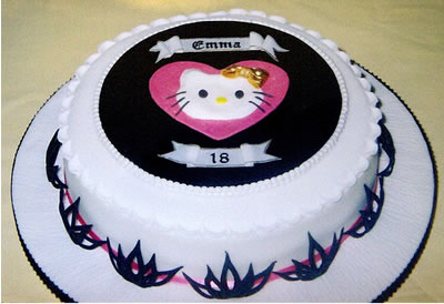 hello kitty cake chocolate and white