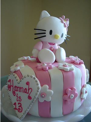 hello kitty cake with pink stripes and 3d hello kitty