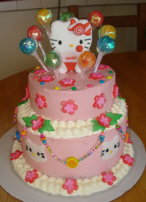 hello kitty cake with candies