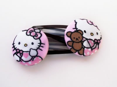 hello kitty button hair clips