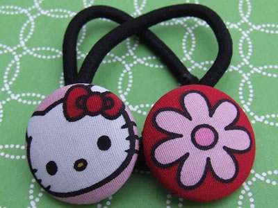 hello kitty button ponytail holder