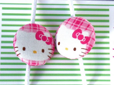 hello kitty button ponytail holders