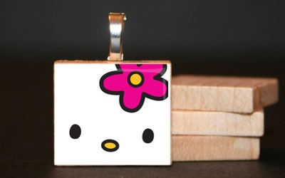 hello kitty scrabble tile jewelry