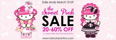 20 to 60% off select Hello Kitty Pink Head items at http://tarinatarantino.com/