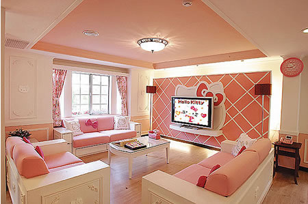 hello kitty villa living room