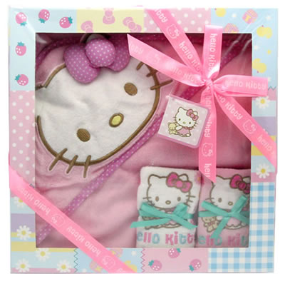 hello kitty baby bear bib and towel gift set