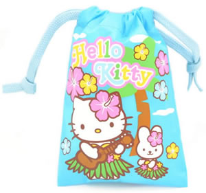 Hawaiian Hello Kitty Blue Drawstring Bag