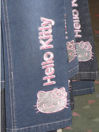 hudson's bay - hello kitty jeans close-up