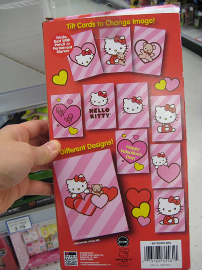 hello kitty valentines day cards - back. In case you're thinking of rushing
