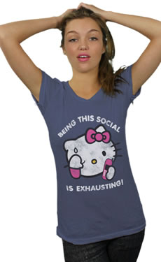 hello kitty being social t-shirt