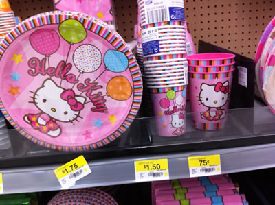 hello kitty birthday supplies - plates, cups
