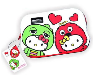 hello kitty gachapin x mukku pouch
