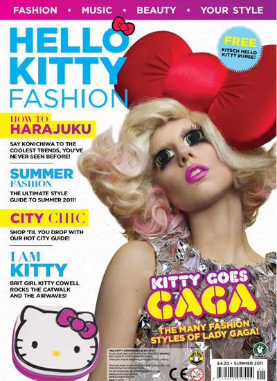 hello kitty fashion magazine with lady gaga