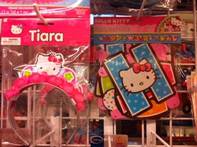 hello kitty tiara and birthday sign
